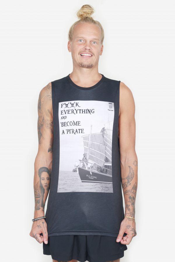 Sleeveless Pirate Tee (Men's, Black, Front)
